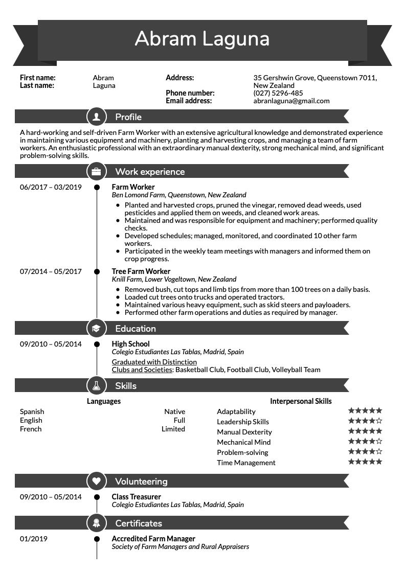 Farm Worker Resume Sample