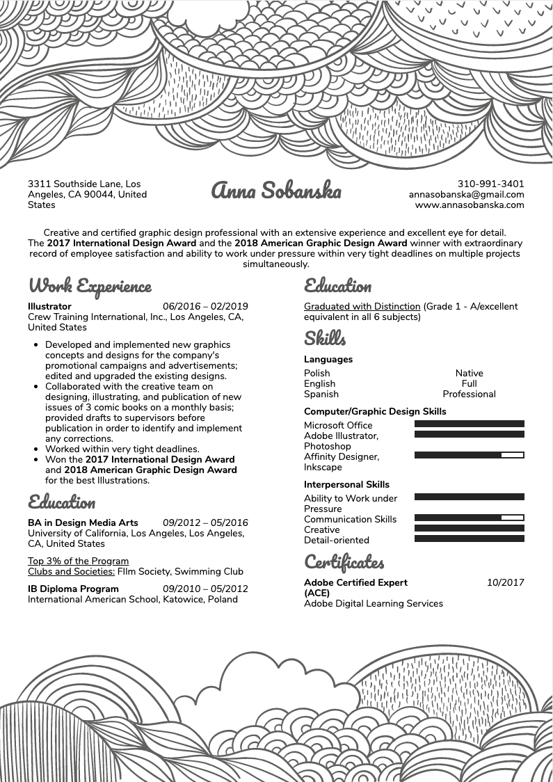 Illustrator Resume Sample